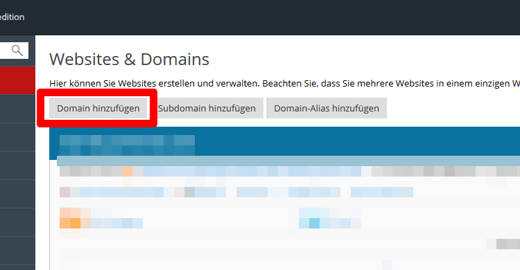Plesk Websites & Domains Schritt1