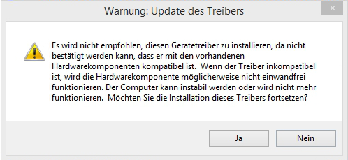ADB Interface Treiber Warnung