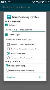 SMS Backup & Restore Sicherung