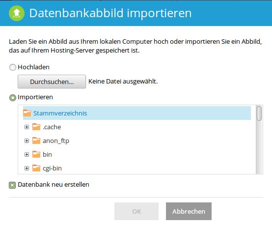 Datenbankabbild importieren