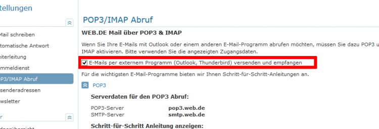 web.de POP3-IMAP Abruf